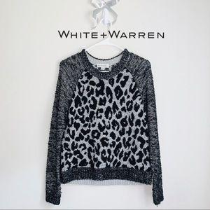 WHITE+WARREN ANIMAL PRINT SWEATER LEATHER TRIM